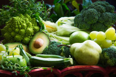 Fresh Raw Autumn Green Vegetables and Fruits Royalty Free Stock Photography