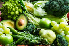 Fresh Raw Autumn Green Vegetables and Fruits Stock Photography