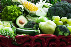 Fresh Raw Autumn Green Vegetables and Fruits Stock Photos