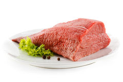 Fresh raw beef. Fresh beef and vegetables on white background Stock Images