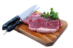Fresh raw beef. On wooden cutting board Royalty Free Stock Photography