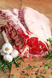 Fresh Raw Beef bone rib roughly choppid. with herbs. Fresh Raw Beef bone rib roughly choppid. with herbs and seasoning Royalty Free Stock Photo
