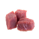 Fresh raw beef cubes isolated on white background.  Stock Photo