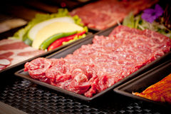Fresh raw beef for grilling in Korean style.  Stock Image