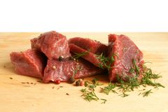 Fresh raw beef meat. With spices Royalty Free Stock Image