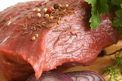 Fresh raw beef meat. With spices Stock Photography