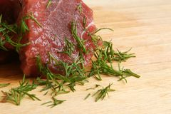 Fresh raw beef meat. With green dill Stock Photography