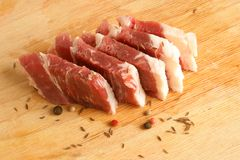 Fresh raw beef meat. With spices Stock Images