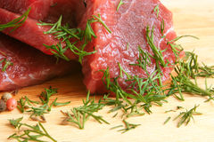 Fresh raw beef meat. With spices Stock Photo