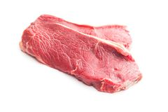 Fresh raw beef meat. Fresh raw beef meat isolated on white background Royalty Free Stock Photo