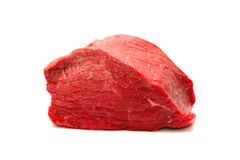 Fresh Raw Beef Meat. Isolatet on White Background.  Stock Images