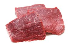 Fresh Raw Beef Meat. Isolatet on White Background.  Royalty Free Stock Photos
