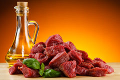 Fresh raw beef. Fresh raw meat and vegetables Royalty Free Stock Photo