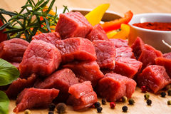 Fresh raw beef. Fresh raw meat and vegetables Stock Images
