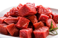 Fresh raw beef. Fresh raw meat and vegetables Royalty Free Stock Image