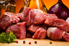 Fresh raw beef. Fresh raw meat and vegetables Royalty Free Stock Photography