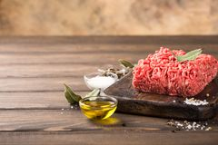 Fresh raw beef minced meat. With salt, pepper, olive oil and laurel leaves on dark wooden board. Healthy food concept with copy space Stock Image