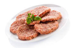 Fresh raw beef minced. Fresh raw beef on white background Stock Image
