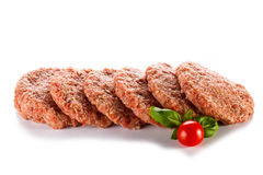 Fresh raw beef minced. Fresh raw beef on white background Royalty Free Stock Photo