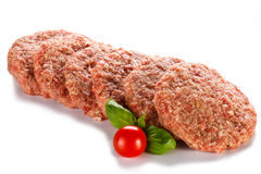 Fresh raw beef minced. Fresh raw beef on white background Stock Photo
