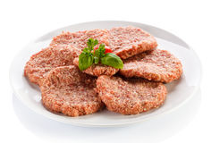 Fresh raw beef minced. Fresh raw beef on white background Royalty Free Stock Photography