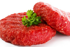 Fresh raw beef mincet. Fresh raw beef on white background Stock Photos
