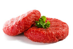 Fresh raw beef mincet. Fresh raw beef on white background Stock Images