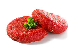 Fresh raw beef mincet. Fresh raw beef on white background Royalty Free Stock Photo