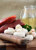 Fresh raw beef  with mushrooms and parsley Stock Image