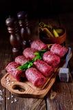 Fresh raw beef roulades. A fresh raw beef roulades Royalty Free Stock Image