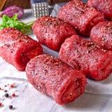Fresh raw beef roulades. A fresh raw beef roulades Royalty Free Stock Photos