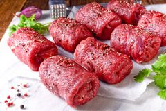 Fresh raw beef roulades. A fresh raw beef roulades Royalty Free Stock Images