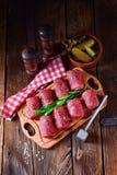 Fresh raw beef roulades. A fresh raw beef roulades Stock Image