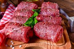 Fresh raw beef roulades. A fresh raw beef roulades Stock Images
