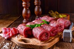 Fresh raw beef roulades. A tasty and fresh raw beef roulades Stock Images