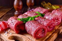 Fresh raw beef roulades. A tasty and fresh raw beef roulades Stock Photography