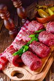 Fresh raw beef roulades. A tasty and fresh raw beef roulades Stock Photo