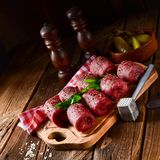 Fresh raw beef roulades. A tasty and fresh raw beef roulades Royalty Free Stock Photo
