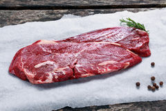 Fresh raw Beef Rump Steak on crumpled paper Royalty Free Stock Photography