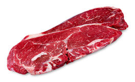 Fresh raw Beef Rump Steak isolated on white background Stock Photo