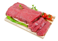 Fresh raw beef steak. Fresh beef on a wooden board Stock Image