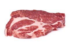Fresh raw beef steak isolated on white background, organic farm.  Stock Photos