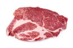 Fresh raw beef steak isolated on white background, organic farm.  Stock Photo