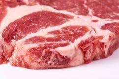 Fresh raw beef steak isolated on white background, organic farm.  Royalty Free Stock Image