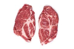 Fresh raw beef steak isolated on white background, organic farm.  Royalty Free Stock Photo