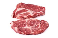 Fresh raw beef steak isolated on white background, organic farm.  Stock Image