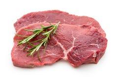 Fresh raw beef steak isolated on white. Fresh raw bio  beef steak isolated on white background Royalty Free Stock Photos