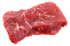 Fresh raw beef steak isolated on white. Top view of fresh raw beef steak isolated on white background Stock Photos