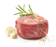 Fresh raw beef steak. On white background Royalty Free Stock Photos
