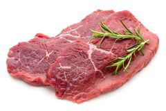 Fresh raw beef steak  on white. Fresh raw bio  beef steak  on white background Royalty Free Stock Image